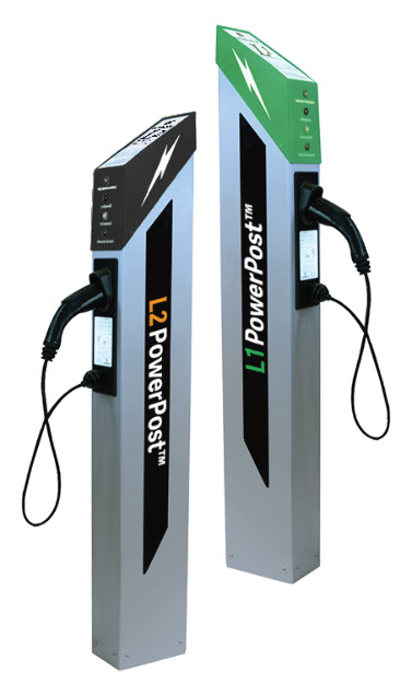 L1 and L2 PowerPost Electric Vehicle Chargers